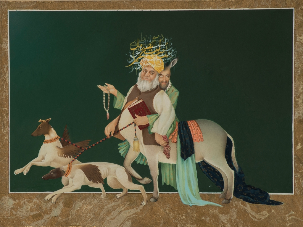 FLIRTING WITH FAITH2   Gouache, gold leaf, marbling on aqua board   22.9 x 30.5 cm
