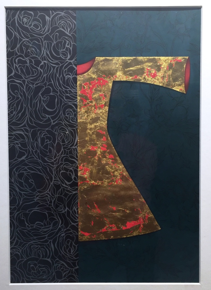 Title: Half Truths, Year: 2016, Medium: Gouache and gold leaf on wasli, Size: Diptych 24.3 x 9.7 inches, Contact: info@unicorngalleryblog.com